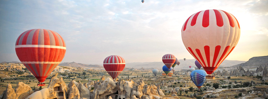 Balloon ride over the volcanic landscapes of Cappadocia